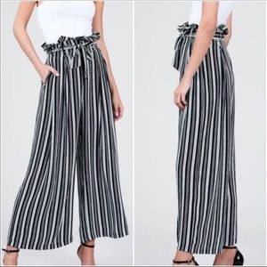 Black White striped Paper Bag PALAZZO pants